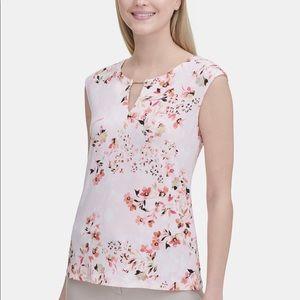Calvin Klein Floral Print Keyhole Neck Top
